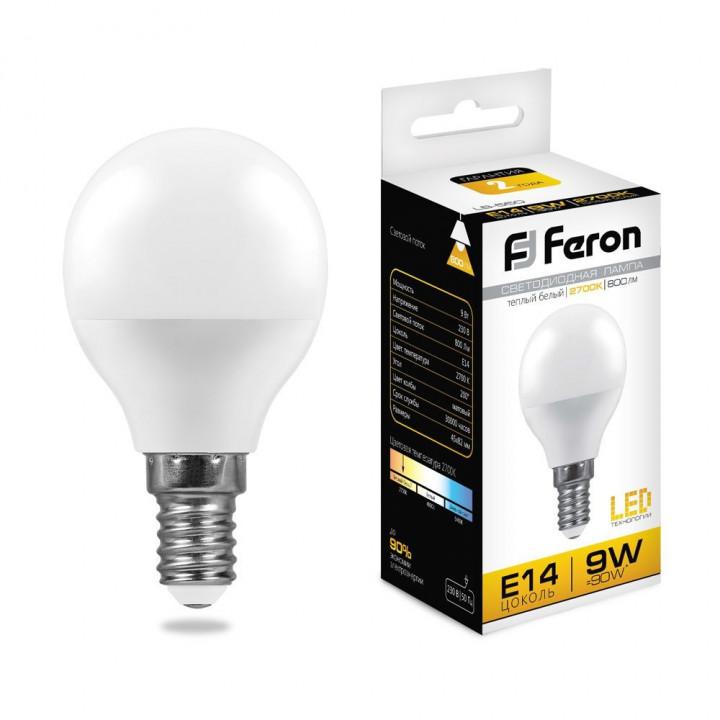 Лампа светодиодная,  (9W) 230V E14 2700K, LB-550