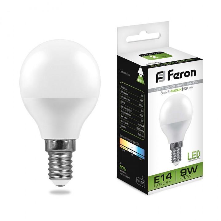 Лампа светодиодная,  (9W) 230V E14 4000K, LB-550