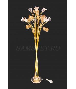 Торшер золотистый цветы