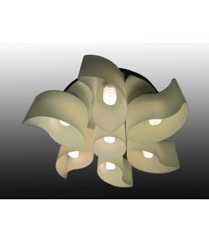 Люстра цветок белый стеклянный семиламповый