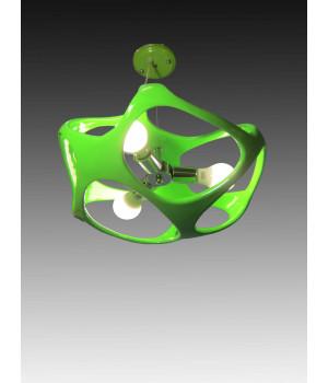необычная люстра акрил зеленый атом молекула