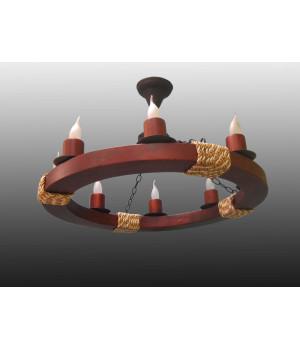 Люстра деревянная колесо канаты восьмерка