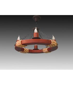 Люстра деревянная колесо круглая канаты